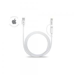 Cabo 2 em 1 - Lightning + Micro USB