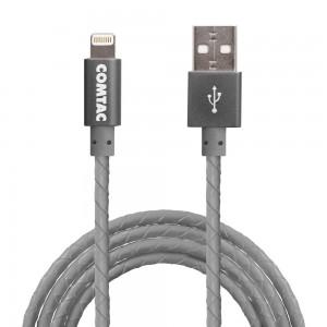 Cabo Lightning com Certificação MFI para USB 2.0 - 1 metro - Couro Cinza