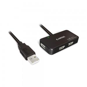 Cabo Extensor USB 2.0 com Amplificador de Sinal + Hub 4 Portas - 10 metros